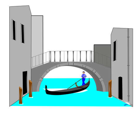 gondola under bridge