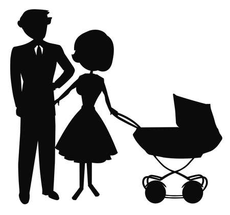 double breasted: happy couple with baby stroller Stock Photo