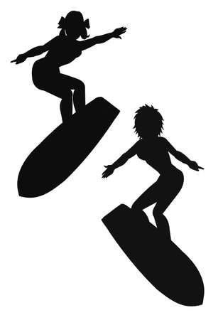 women surfers in silhouette