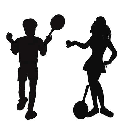 tennis players in silhouette