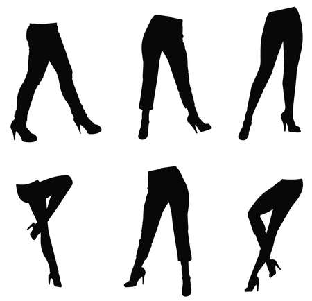 open toe: females in pants and heels in silhouette
