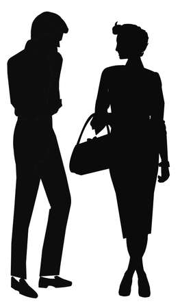 man and woman in silhouette talking Banque d'images