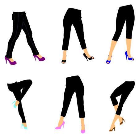 capri pants: women in leggings over white Stock Photo