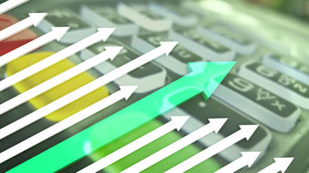 cashless payment: growth graph with a green arrow on the background of cashless payment terminal Stock Photo