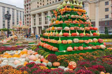 show window: Pumpkin Pyramid in the city, merry-go-round at the Halloween party