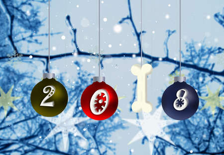 blue widescreen widescreen: New year of the dog 2018.Christmas and New Year Decoration 3D illustration Stock Photo