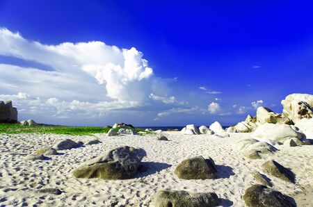 Stones of Khe Ga Beach  Binh Thuan province of Vietnam  photo