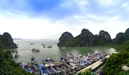 long bay: Ships in Halong Bay.  Ha Long Bay, Vietnam. Stock Photo