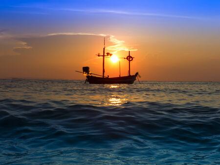 amat: Fishing Boat on Wong Amat Beach. North of Pattaya City, Thailand.