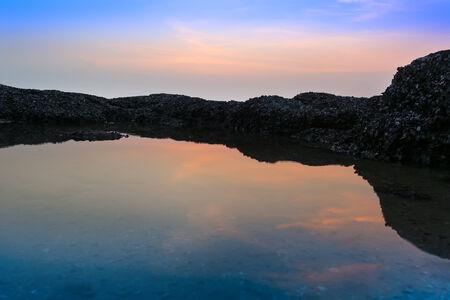 amat: Silent Water on Wong Amat Beach Sundown. North of Pattaya City, Thailand.