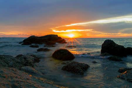 amat: Evening Sun on Wong Amat Beach. North of Pattaya City, Thailand.