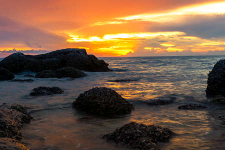 amat: Wong Amat Beach Red Sundown. North of Pattaya City, Thailand. Stock Photo