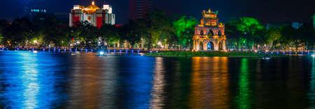 Turtle Tower at Night, Hoan Kiem Lake Panorama. Hanoi  Vietnam.