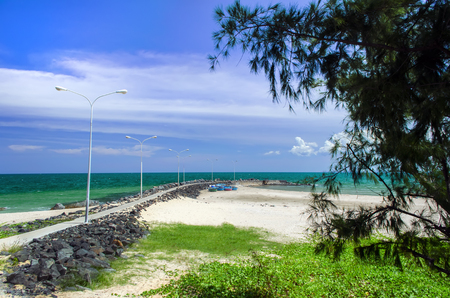 ne: Mui Ne Coast Line with Pier. Vietnam.