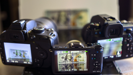 One Hundred Dollars Banknote in Photo Camera Screen.