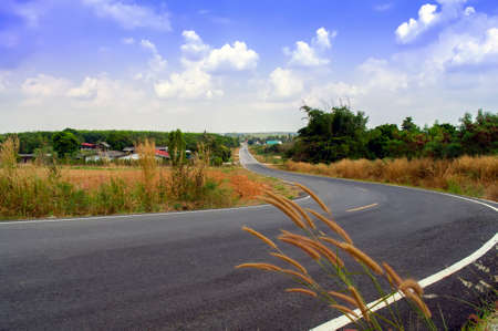 rayong: Empty Country Road in Rayong Province, Thailand.