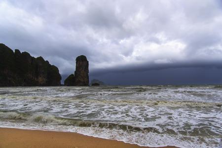 aonang: Storm Front in Coast. Krabi Province Thailand