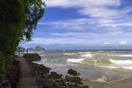 aonang: Wooden Path Along The Sea. Krabi Province, Thailand