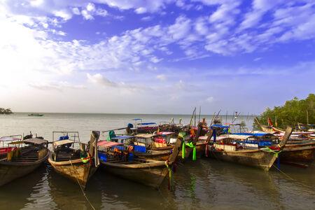 aonang: Fishermans Bay and Boats in Krabi Province, Thailand Stock Photo