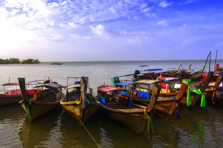 aonang: Fishing Bay and Boats in Krabi Province of Thailand