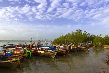 aonang: Fishing Bay and Boats in Krabi Province, Thailand