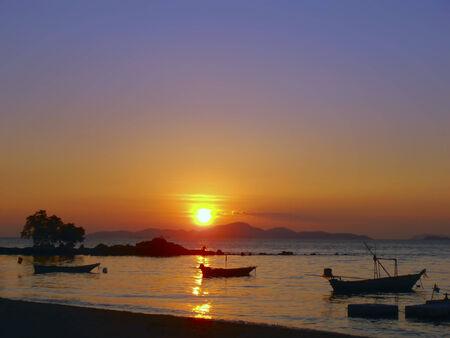 amat: Silent Water on Wong Amat Beach Sundown. Stock Photo