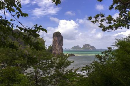 aonang: View Through Leaves of Trees. Krabi Province, Thailand Stock Photo