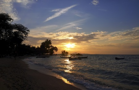 amat: Last Rays of Sun on Wong Amat Beach, Pattaya. Stock Photo