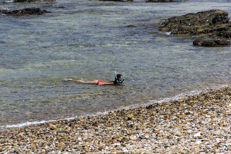 mook: Snorkeling near Koh Mook Island in Trang Province, South Thailand Trang, Thailand - January 22, 2015: Snorkeling