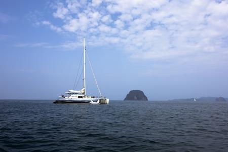 mook: Sailing Catamaran in Koh Mook Island Coast Line.