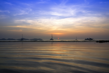 Koh Mook Island Coast Line on Sundown Stock Photo