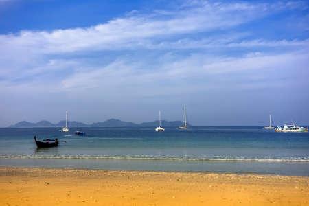 trang: Koh Mook Island Charlie Beach Boats. Trang Province, South Thailand