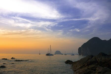 mook: Sunset Paints on Charlie Beach in Koh Mook Island