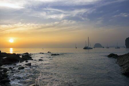 mook: Evening Sun on Charlie Beach in Koh Mook Stock Photo