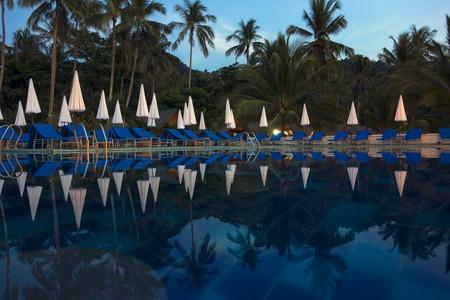 mook: Evening Pool on Charlie Beach in Koh Mook Island