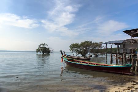 mook: Boats in Koh Mook Island Coast Line. Trang Province, South Thailand
