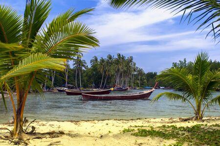 mook: Koh Mook Island Coast Line. Fisherman Boats Stock Photo
