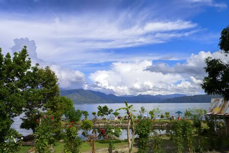sumatra: View from Tuk-Tuk Village. Lake Toba, North Sumatra, Indonesia Stock Photo