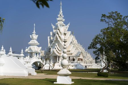 foreigners: Inside Wat Rong Khun. More well-known among foreigners as the White Temple. Stock Photo