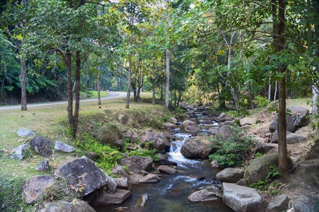 Korn: Way to Khun Korn Waterfall in National Park near Chiang Rai, Thailand. Stock Photo