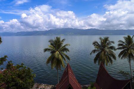 sumatra: View from Tuk-Tuk to Lake Toba, North Sumatra Indonesia Stock Photo