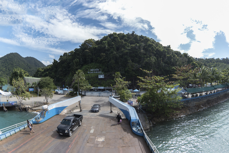 trat: Koh Chang, Thailand - December 4, 2016: View from Ferry to Pier, Koh Chang Island, Trat Province Thailand