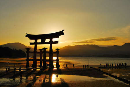 Torii gate of a shrine during beautiful sunset