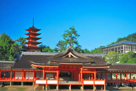 View of unique temple architecture with towering pagoda Stock Photo