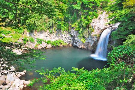Majestic waterfall in the wilderness in Korea