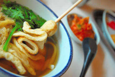 Sumptuous looking Japanese udon prepared in a Korean restaurant Stock Photo