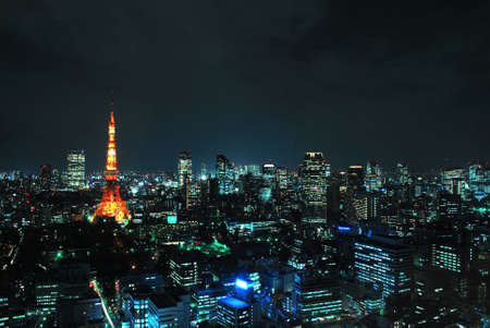 Night view of Tokyo metropolitan city, a city that never sleeps. Stock Photo