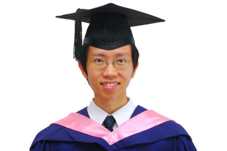 Happy, young Asian man recently graduated from university. Symbolizing life satisfaction and achievements.  photo