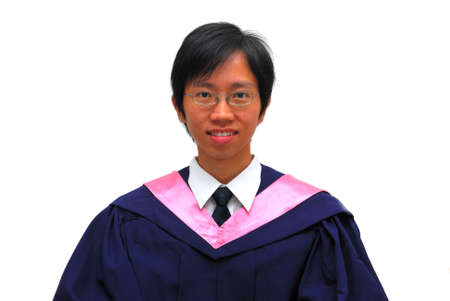Happy, young Asian student recently graduated from university. Symbolizing life satisfaction and achievements. Also suitable for concepts such as success, pride, happiness, love and life. photo
