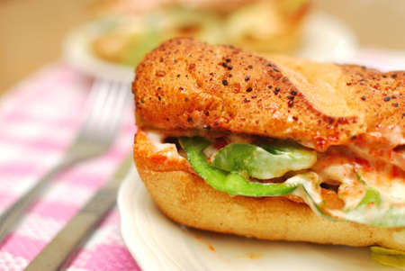Sumptuous looking vegetarian sandwich with a variety of raw vegetables. Suitable for concepts such as diet and nutrition, healthy eating and healthy lifestyle, and food and beverage. Stock Photo - 6142587